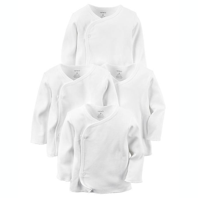 Alternate image 1 for carter's® 4-Pack Long Sleeve Kimono T-Shirts in White