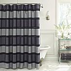 Jardin Stripe 72-Inch x 96-Inch Fabric Shower Curtain in Navy