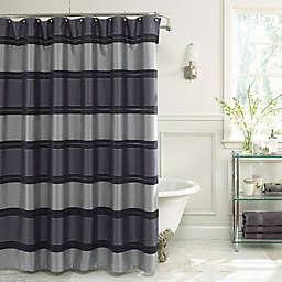 Jardin Stripe Fabric Shower Curtain In Navy