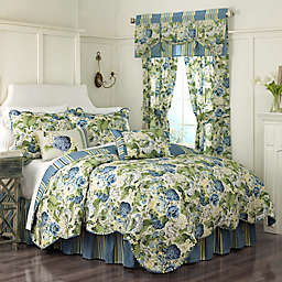 Waverly® Floral Flourish Reversible Quilt Set in Porcelain