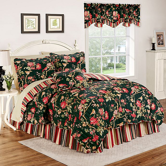 Waverly 174 Charleston Chirp Noir Reversible Quilt Set Bed