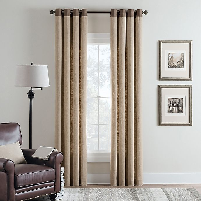 Alternate image 1 for Cambria® Malta Remix 63-Inch Grommet Top Window Curtain Panel in Linen