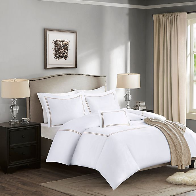 Alternate image 1 for Madison Park Signature 1000-Thread-Count Embroidered King Duvet Cover Set in Tan