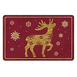 The Softer Side by Weather Guard™ Brass Reindeer 1 Kitchen Mat