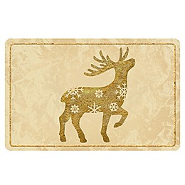 The Softer Side by Weather Guard™ Brass Reindeer 2 Kitchen Mat