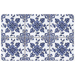 The Softer Side by Weather Guard™ Delft Floral Kitchen Mat