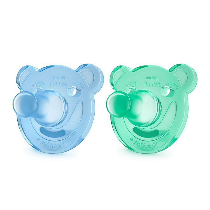 Alternate image 1 for Philips Avent 0-3 M 2-Pack Soothie Shape Pacifier in Green/Blue