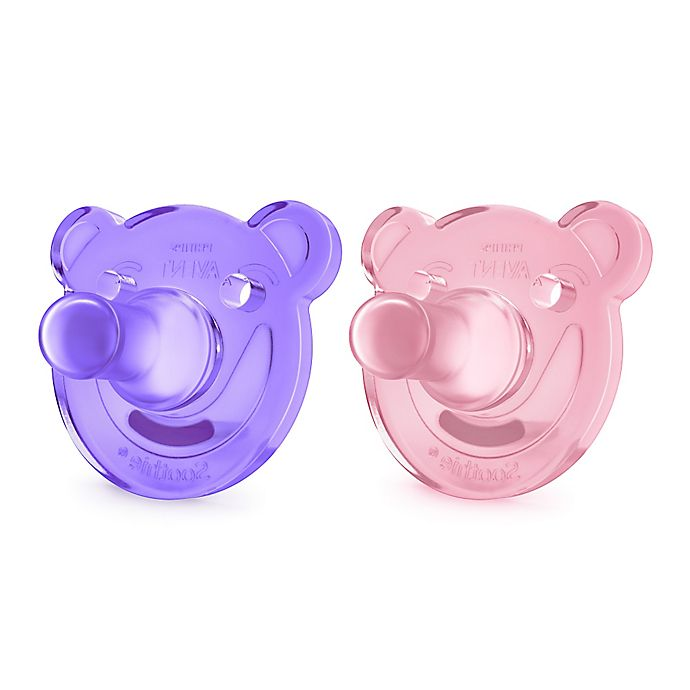 Alternate image 1 for Philips Avent 0-3 M 2-Pack Soothie Shape Pacifier in Pink/Purple