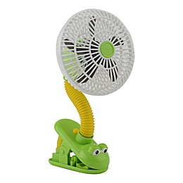 O2COOL® 4-Inch Portable Stroller Clip Fan in Green/Yellow Frog