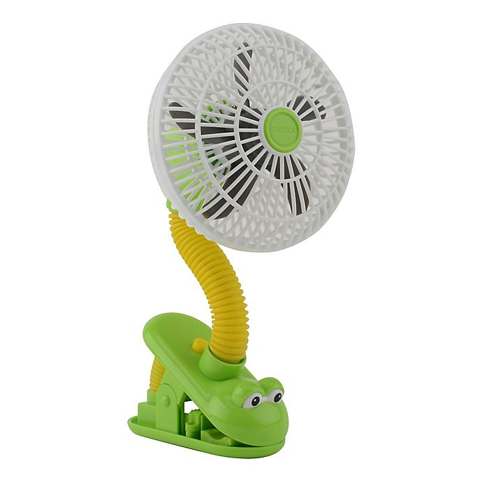Alternate image 1 for O2COOL® 4-Inch Portable Stroller Clip Fan in Green/Yellow Frog