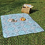 Medallion Indoor/Outdoor Throw Blanket in Light Blue