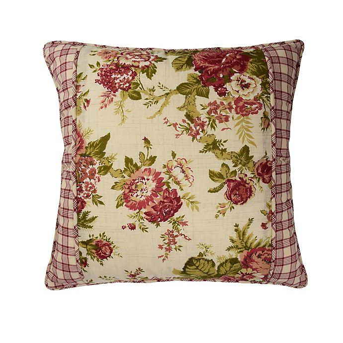 Alternate image 1 for Waverly® Norfolk Reversible Cabbage Rose/Gingham Throw Pillow