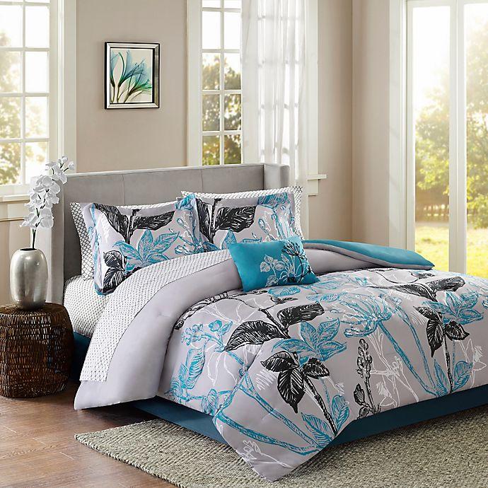 Alternate image 1 for Madison Park Claremont 7-Piece Reversible Twin Comforter Set in Aqua
