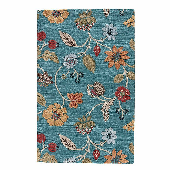 Alternate image 1 for Jaipur Blue Collection Floral Rug in Blue Multi