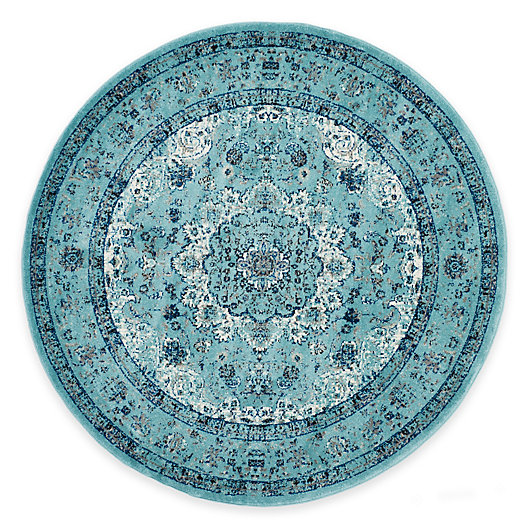 Alternate image 1 for Safavieh Evoke Collection Mirza 6-Foot 7-Inch Round Area Rug in Light Blue