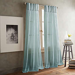 DKNY Paradox Pencil Pleat 2-Pack 63-Inch Rod Pocket/Back Tab Sheer Window Curtain Panels in Aqua