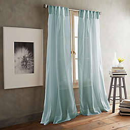 DKNY Paradox 2-Pack 96-Inch Inverted Pleat Sheer Window Curtain Panels in Aqua