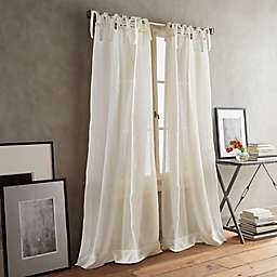 DKNY Paradox 2-Pack 84-Inch Tie Tab Sheer Window Curtain Panels in Ivory
