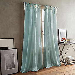 DKNY Paradox 2-Pack 63-Inch Tie Tab Sheer Window Curtain Panels in Aqua