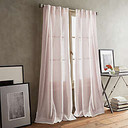 DKNY Paradox 2-Pack 96-Inch Rod Pocket/Back Tab Sheer Window Curtain Panels in Pink