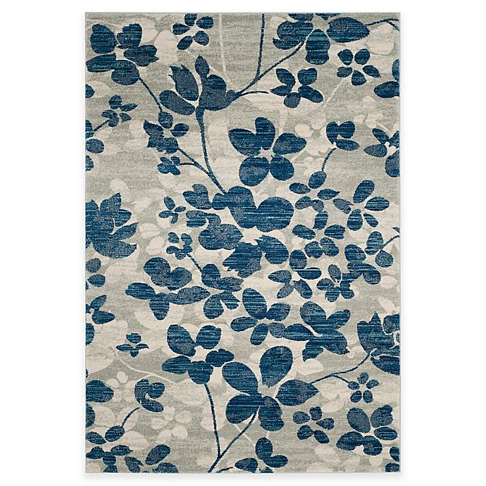 Alternate image 1 for Safavieh Evoke Collection Flora 6-Foot 7-Inch x 9-Foot Area Rug in Grey/Light Blue