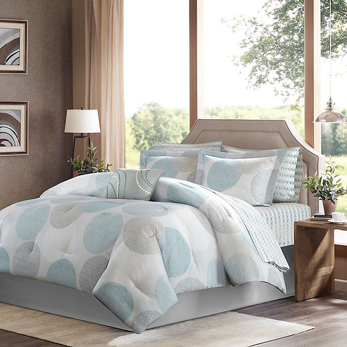 Alternate image 1 for Madison Park Essentials Knowles 9-Piece Comforter Set in Aqua
