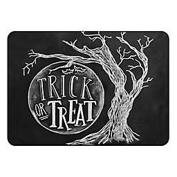 The Softer Side by Weather Guard™ Trick or Treat Moon Kitchen Mat in Black/White