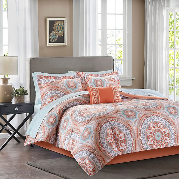 Alternate image 1 for Madison Park Essentials Serenity 9-Piece Full Comforter Set in Coral