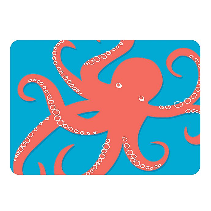 Alternate image 1 for The Softer Side by Weather Guard™ 23-Inch x 36-Inch Nautical Octi on Turquoise Kitchen Mat