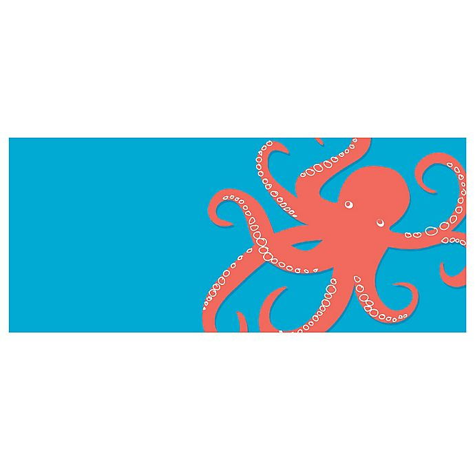 Alternate image 1 for The Softer Side by Weather Guard™ 25-Inch x 60-Inch Nautical Octi on Turquoise Kitchen Mat