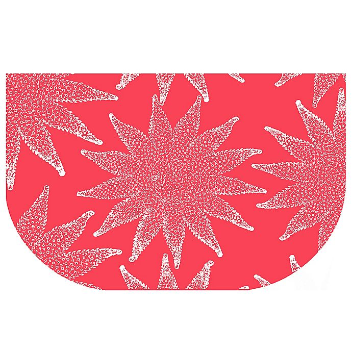 Alternate image 1 for The Softer Side by Weather Guard™ 24-Inch x 40-Inch Nautical White on Coral  Kitchen Mat
