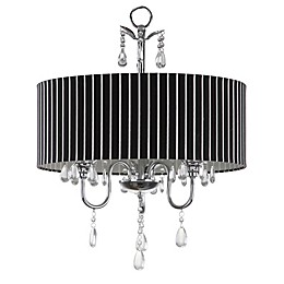 Safavieh Abbeville 3-Light Chandelier in Chrome with Black/White Linen Shade