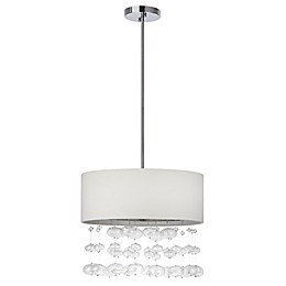 Safavieh Debutante 3-Light Pendant in Chrome with Cotton Shade