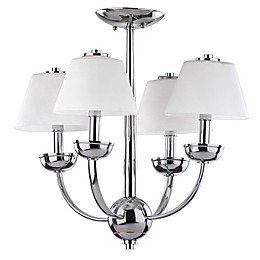 Safavieh Yardley 4-Light Chandelier in Chrome with White Etched Glass Shades