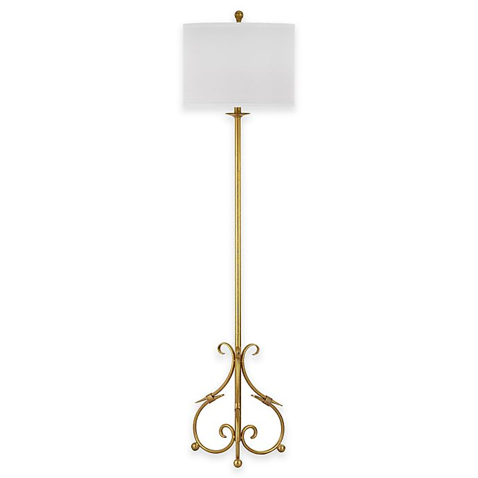 Alternate image 1 for Safavieh Elisa Baroque Floor Lamp in Antique Gold with Cotton Shade