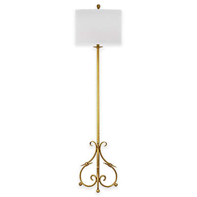 Safavieh Elisa Baroque Floor Lamp in Antique Gold with Cotton Shade