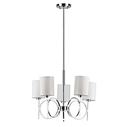 Safavieh Meredith 5-Light Chandelier in Chrome with White Linen Shade