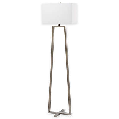 Safavieh Lyell Floor Lamp in Nickel with Cotton Shade