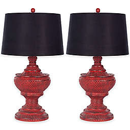 Safavieh Chinese Table Lamp in Distressed Red (Set of 2)