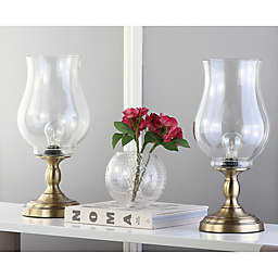 Safavieh Blackburn Hurricane Table Lamps in Bronze with Glass Shades (Set of 2)
