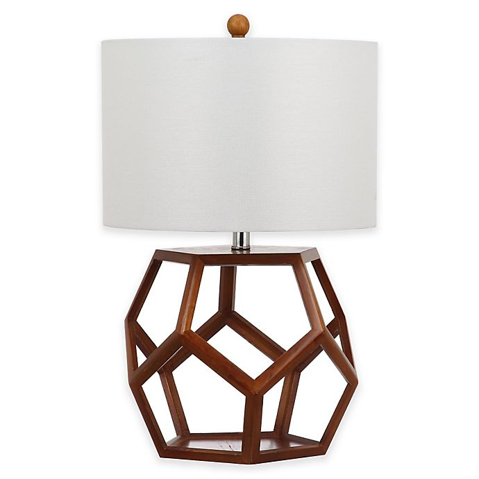 Safavieh Delaney Table Lamp in Brown with Cotton Shade ...