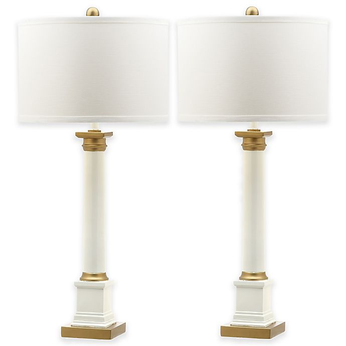 Alternate image 1 for Safavieh Henley Table Lamps in White/Gold with Cotton Shade (Set of 2)