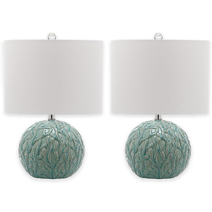 Alternate image 1 for Safavieh Robinson Table Lamps in Light Blue with Cotton Shade (Set of 2)