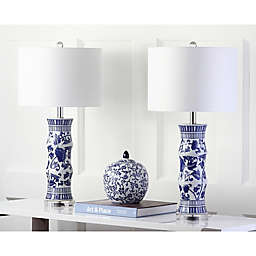 Safavieh Sandy Table Lamps in White/Blue (Set of 2)