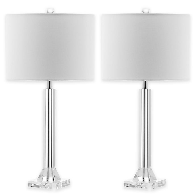 Alternate image 1 for Safavieh Tyrone Crystal Column Table Lamps with Linen Shades (Set of 2)