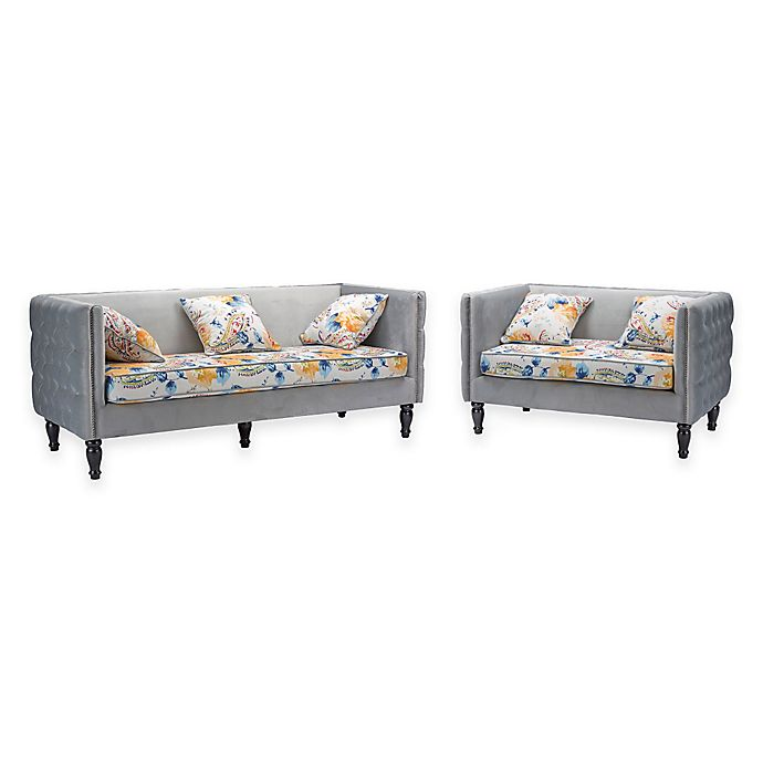 Fantastic Baxton Studio Penelope Sofa And Loveseat Collection In Grey Gmtry Best Dining Table And Chair Ideas Images Gmtryco