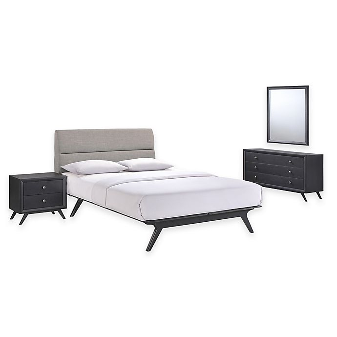 Alternate image 1 for Modway Addison 4-Piece Queen Bedroom Set in Black/Grey