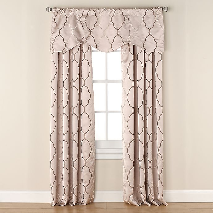 Alternate image 1 for Linnea Embroidered Room-Darkening Window Curtain Panel and Valance