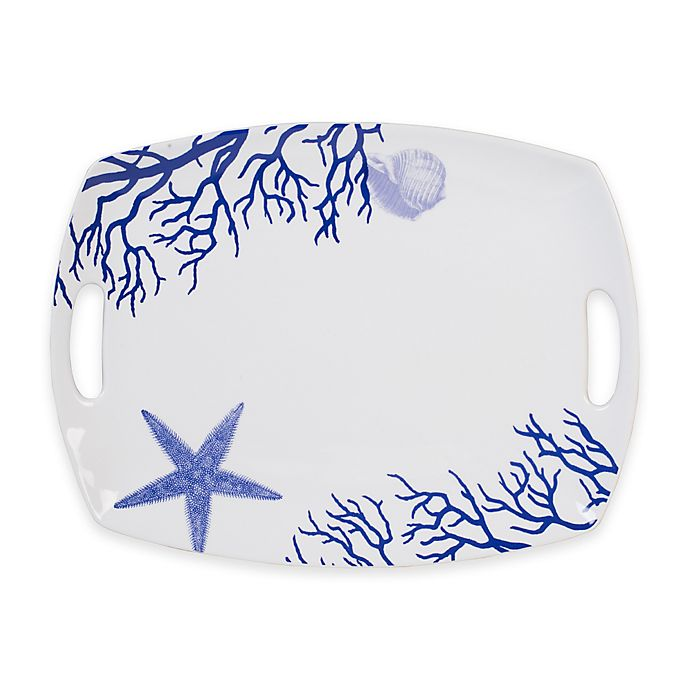 Alternate image 1 for Everyday White® by Fitz and Floyd® Coastal Starfish & Coral 17-Inch Rectangular Platter