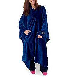 THROWBEE by Kona Benellie® Luxury Throw Blanket/Poncho in Blue